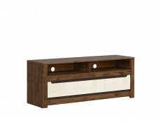 Modern TV Cabinet Stand Entertainment Unit with 3 Drawers in Cream Gloss and Dark Oak - Ruso