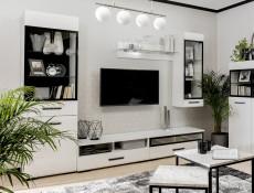 Modern White Gloss Wall Mounted Glass Shelf Panel Unit 100cm 1m with LED Lighting - Assen