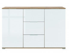 Modern Large Living Room Furniture Set White Gloss / Oak finish TV Cabinet Sideboard Wall Unit - Zele