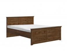 Classic King Size Bed Frame Bedroom Headboard Wooden Slats Dark Oak - Patras