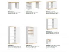 Modern Large Storage Bookcase Shelving Unit with Drawers 180 cm White Gloss/Oak Finish – Denton