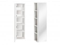 Modern Tall Bathroom Mirror Cabinet Shelving Storage Unit White Matt/White Gloss - Twist (TWIST_802_WHITE)