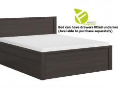 Modern King Size Bed Frame in Wenge Dark Wood Finish with Solid Wood Bed Slats  - Kaspian (S128-LOZ/160/T-WE/WE/KPL01+WKLAD/21)