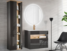Modern Grey Gloss Wall Vanity Bathroom Sink Cabinet 800 Unit with Designer Oak Shelf & LED Light - Bahama
