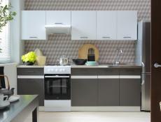 Modern Free Standing Kitchen Cabinet 800 Cupboard Sink Unit 80cm Wolfram Grey/White Gloss - Junona (K24-DK2D/80/82-BI/SZW-KPL01)