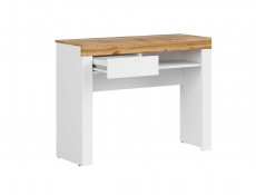 Scandinavian Small Narrow Compact Desk Home Office Study Console Dressing Hall Table with Drawer White Gloss/Oak - Holten