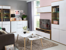 Modern Wall Unit Living Room Cabinet Storage 1 Door Cupboard White Gloss/Oak - Zele (S383-SFW1K-DWO/BIP-KPL01)