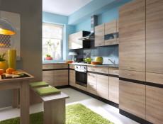 Modern Free Standing Kitchen Cabinet 400 Base Cupboard Unit 40cm Left Hand Wenge/Sonoma Oak - Junona (K22-D1D/40/82_L-WE/WE/DSO/DSO-KPL01)