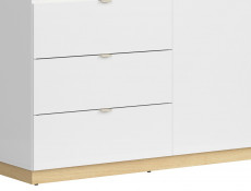Modern Large Storage Bookcase Shelving Unit with Drawers 180 cm White Gloss/Oak Finish – Denton