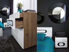 Bedside Cabinet Table White High Gloss - Byron (S220-KOM2S/4/5-BIP/DSAJ-KPL01)
