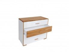 Large Chest of 4 Drawers White Gloss and Oak - Bari