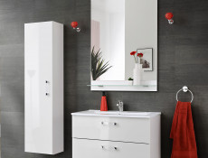 Bathroom Vanity Wall Cabinets Set 2-Piece White/White Gloss 60cm and Sink - Adel
