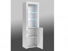 Tall White High Gloss Bookcase Modern 1 Door Display Cabinet Unit with Glass Shelving and RGB LEDs - Lily (HOF-LILY-SL_BI-BIP-KP01+RGB-CLIP(2))