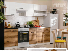 Tall Larder Kitchen Cabinet Pantry 500 Cupboard Unit 50cm Left Light Delano Oak / White Gloss - Junona (K24-D2D/50/195_L-BI/BIP/DDJ-KPL01)