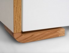 White Gloss and Oak Small Cabinet Square Sideboard - Bari (KOM4D)