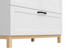 Scandinavian Double 2 Door Wardrobe with Drawer in White Matt & Oak finish - Haga