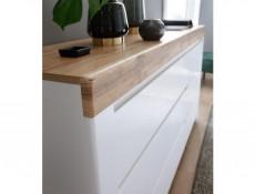 Scandinavian Large Sideboard Cabinet Unit 3-Drawer White Gloss/Oak - Holten (S440-KOM1D3S-BI/DWO/BIP-KPL01)