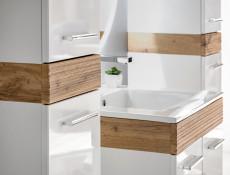 Nowoczesna wysoka szafka łazienkowa słupek wiszący biały połysk - Aria