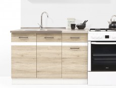 Free Standing White Gloss/Oak Kitchen Cabinets Cupboards Set 7 Units - Junona (K24-JUNONA_MODUL/240-BI/BIP/DSAJ/INC-KPL01)