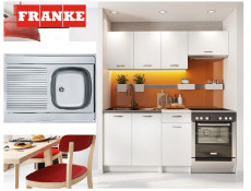 Complete Kitchen Set of 5 Cabinets Units Flat Pack in White Matt finish with Franke Sink – Nela 1