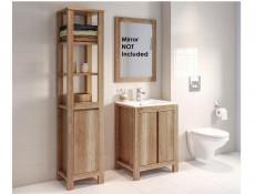 Classic 600 Vanity Bathroom 60cm Sink Cabinet Set with Tallboy Freestanding Unit - Classic Oak