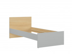 Modern Single Bed Frame 90cm Wooden Slats Headboard Kids Bedroom Grey/Oak - Nandu