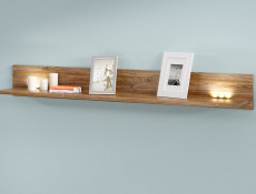 Modern Living Room Wall Mounted Floating Panel Shelf LED Light 200cm Oak- Gent