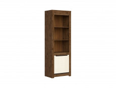 Modern Tall Bookcase Shelf Storage 1 Door Cabinet in Cream Gloss and Dark Oak - Ruso (S407-REG1D-DARL)
