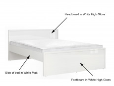 Modern White High Gloss Double Bed Frame & 4 Under Bed Storage Drawers - Pori