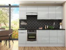 Light Dove Grey Gloss Kitchen Cabinets Cupboards 8 Unit DIY Set with Oven Housing 240cm - Luna (STO-LUNA_SET-8UNITS_2.4-SZ-SZP)