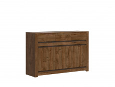 Classic Wide Sideboard Dresser Cabinet Unit with 3 Drawers Oak/Grey - Kada (S404-KOM3D3S-DARL-KPL01)