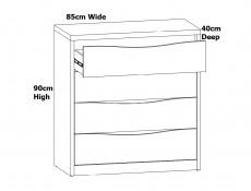 Modern 5 Piece White Gloss & Oak Bedroom Furniture Set Euro Double Bed Frame Wardrobe Chest Drawers - Pori