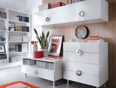 Modern TV Stand Cabinet Unit with Drawer 100cm Media Table White Gloss - Ringo (S61-RTV1S/10/5-BAL/BIP-KPL01)