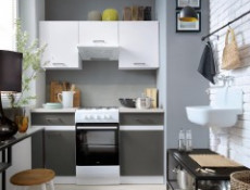 Modern Free Standing Tall Larder Kitchen Cabinet Cupboard Unit 50cm Left Grey White Gloss - Junona (K24-D2D/50/195_L-BI/BIP/SZW-KPL01)