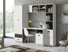 Urban Oak & Grey or White & Grey Home Office Study Furniture Set with Desk Tall Cabinet Wall Unit - Melton