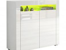 Small Sideboard Display Cabinet White High Gloss with RGB LED Light - Lily (KOM2D+RGBLed)
