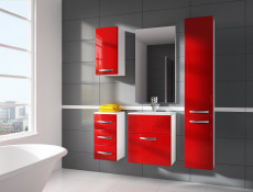 Modern Bathroom Furniture Set Red High Gloss Wall Hung Units with Sink 600mm - Coral