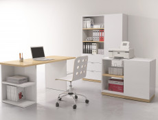 Modern Home Office Study 3 Piece Furniture Set Shelving Desk Cabinet White Gloss/Oak Finish – Denton