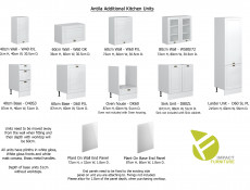 White High Gloss Kitchen Cabinet 1 Door Wall 600 Unit 60cm Shaker Style  - Antila (HOF-ANTILA-W60/72_P/L-BI-BIP-KP01)