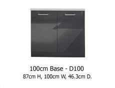 Free Standing Grey Gloss Kitchen Base Cabinet 2 Doors Unit Cupboard 100 cm 1000mm - Modern Luxe (STO-MODERN_LUX-D100-GREY-KP01)
