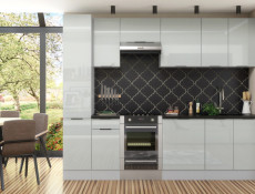 Light Dove Grey Gloss Kitchen Wall Cabinet 80cm Cupboard 2 Door Wall Mounted 800 Unit - Luna