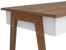 White Gloss/Walnut Compact Home Study Office Set: Wooden Framed Desk & Wall Shelf - Heda