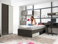 Modern Two Door Double Wardrobe Grey Matt and White Gloss Bedroom Furniture Shelves and Hanging Rail - Graphic