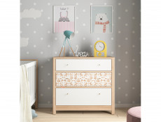Large White  / Beech Chest of Drawers Modern Kids Baby Nursery Furniture Horse Motif - Timon (S401-KOM3S-BUI/BI/KOA/BI-KPL01)