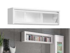 White Wall Mounted Unit Glass Fronted Cabinet Shelf - Kaspian W