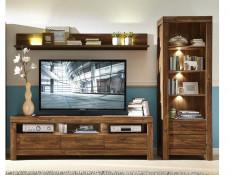 Modern Tall Display Glass Cabinet Open Bookcase Storage Unit with LED Lights Medium Oak Effect - Gent (S228-REG2S/20/7-DAST-KPL01)