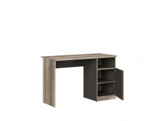 Urban Oak & Grey Computer Desk for Home Office Study 120cm Door and Open Compartment - Melton