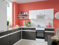 Modern Free Standing Tall Larder Kitchen Cabinet Cupboard Unit 50cm Right Grey / White Gloss - Junona (K24-D2D/50/195_P-BI/BIP/SZW-KPL01)