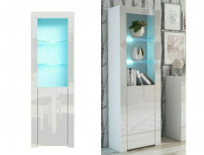 Modern White High Gloss Glass Display Cabinet Set with RGB LEDs: Tall & Compact Bookcase Units - Lily (HOF-KOM1D+SL+RGB-LEDS)