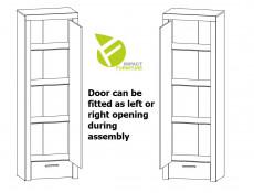 Modern Tall 62cm Storage Shelving Cabinet 1 Door 1 Drawer Unit Oak Effect and White Gloss - Balder (S382-REG1D1S-DRI/BIP-KPL01)